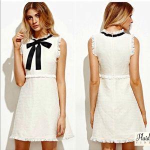 NWOT New Bow Tie Neck Frayed Trim Tweed Dress